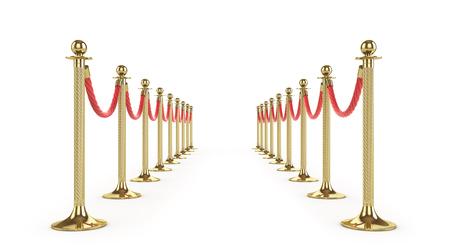 Barrièrentouw op wit wordt geïsoleerd dat. Gouden hek. Luxe, VIP-concept. Uitrusting voor evenementen. 3D illustratie Stockfoto