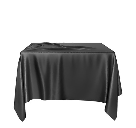 Cloth on a square pedestal isolated on white. 3d illustration