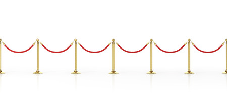 Barrier rope isolated on white. Gold fence. Luxury, VIP concept. Equipment for events. 3d illustration