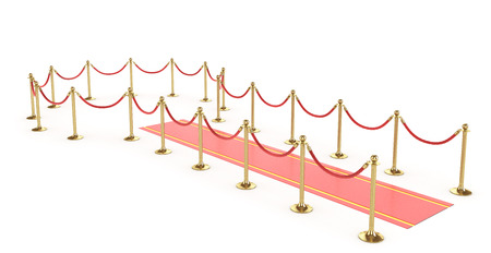Red event carpet with VIP fence on a white background. 3d illustration