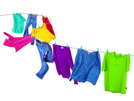 Clothes on a clothesline. Stock Photo