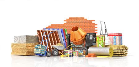 Reeks bouwmaterialen en hulpmiddelen die op een witte achtergrond worden geïsoleerd. 3D illustratie