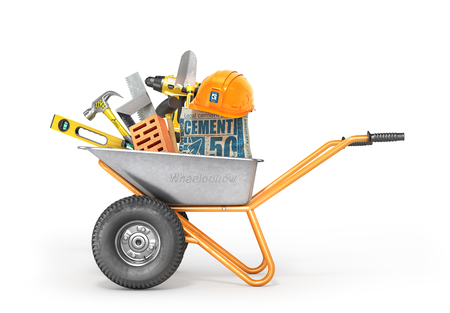 Construction concept. Construction tools in the wheelbarrow isolated on a white. 3d illustration