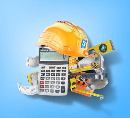 Construction costs concept. Construction tools near calculator with a check on a blue. 3d illustration Stock Photo