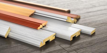 Ensemble de plinthe forme différente sur un fond de bois. Illustration 3D Banque d'images - 87755382