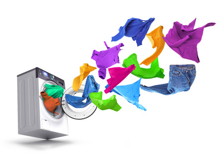 Bright things take off from the washing machine on a white background2. Stock Photo