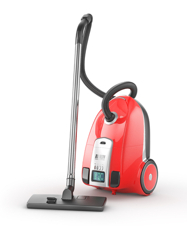 Red vacuum cleaner isolated on a white background. 3d illustration