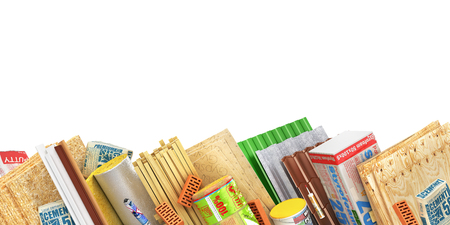 Set of construction materials on the side of page isolated on a white. 3d illustration Stock Photo