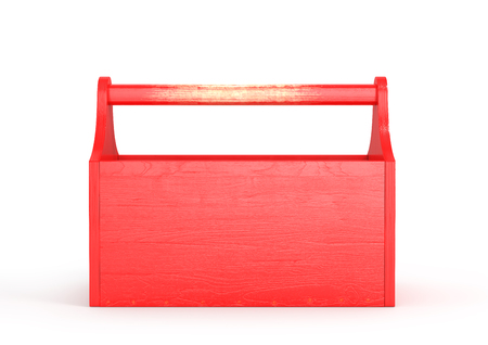 Red empty toolbox on a white background. 3d illustration