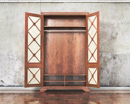 Open old cupboard near plastered wall. Grange. 3d illustration