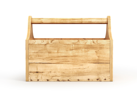 Empty wood toolbox on a white background. 3d illustration Banco de Imagens