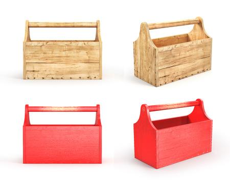 白い背景に空の木製ツールボックスのセットです。3 d イラストレーション