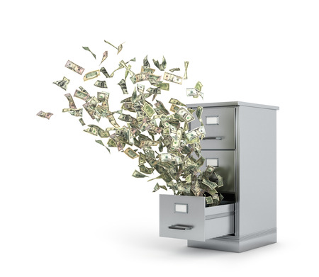 Flying money from a locker to store documents. 3d illustration Stock Photo