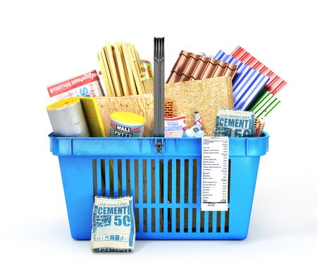 Shopping basket full of construction materials on a white background. 3d illustration Stock Photo