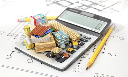 Constructions materials on calculator. Concept of calculation of costs of construction. 3d illustration