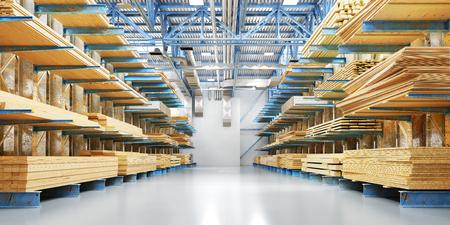 Magazijn met verschillende soorten hout voor constructie en reparatie. Leveringsconcept. 3d illustratie Stockfoto