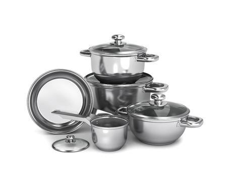 set of stainless steel pots and pans isolated on white background. 3d illustration