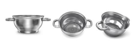 Set of realistic metal saucepan. 3d illustration