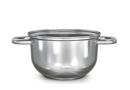 realistic metal saucepan. 3d illustration Фото со стока