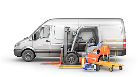 Warehouse transport. Car for delivery with forklift, trolley, manual forklift on a white background. 3d illustration