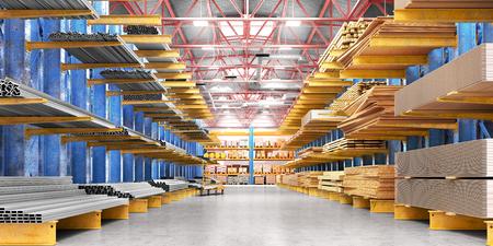 Lagerhalle mit verschiedenen Holzarten für Bau und Reparatur. Lieferkonzept. 3D-Darstellung