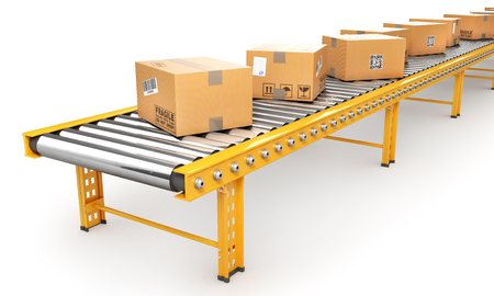Delivery concept. Cardboard boxes on a conveyor line. 3d illustration