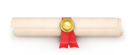 Diploma with red ribbon and medal, isolated on white background. 3d illustration Stock Photo