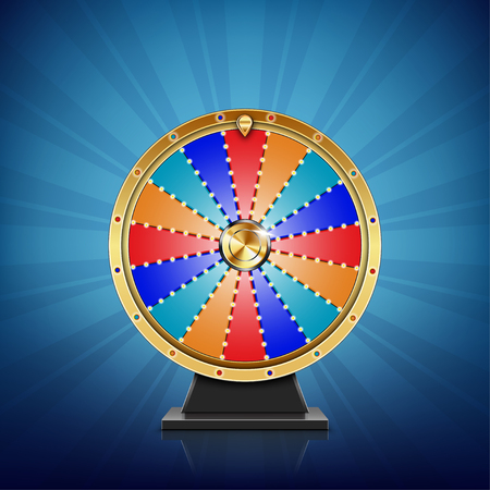 Realistic spinning fortune wheel Ilustracja