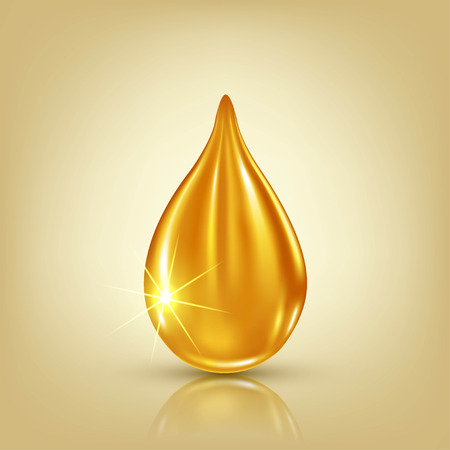 Vector illustration of a golden drop of oil