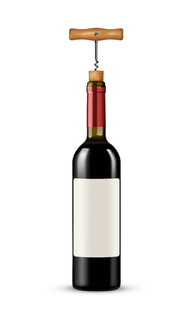 Bottle of wine with corkscrew on white background
