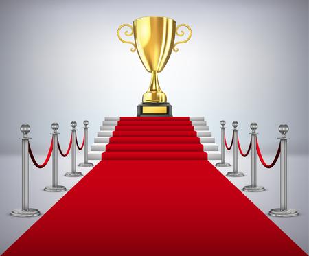 레드 카펫 경로에 우승자의 금 컵