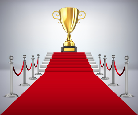 Gold cup of the winner on a red carpet path Illustration