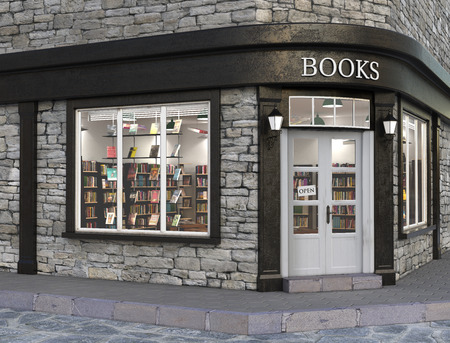 Books store exterior, 3d illustration 免版税图像