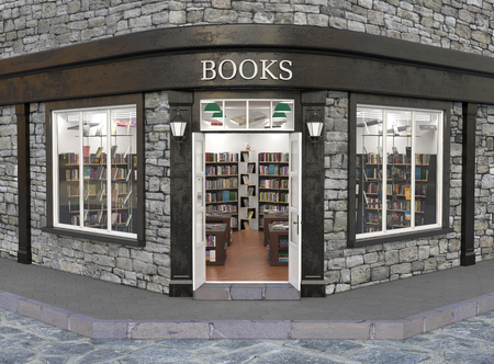 Books store exterior, 3d illustration Stok Fotoğraf