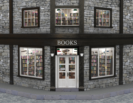 Book store exterior, 3d illustration