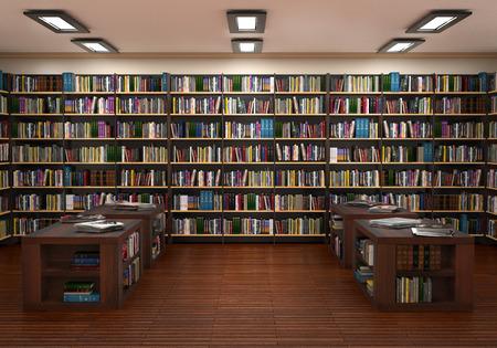 Estantería en la librería. Ilustración 3d Foto de archivo - 88066212