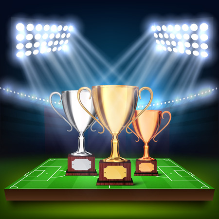 Soccer cups on the football field Illustration