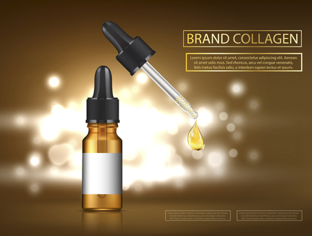 Glass droplet bottle with essence oil drop Illustration