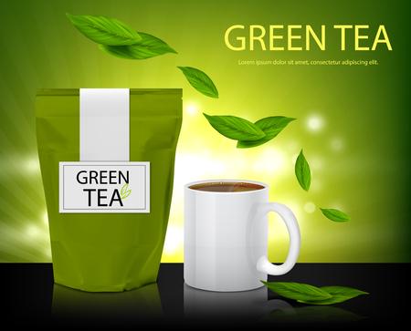 葉の袋と緑茶のコップがテーブルの上に立つ