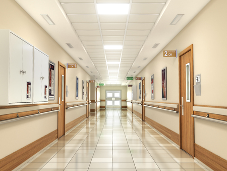 Medical concept. Hospital corridor with rooms. 3d illustration Stock fotó - 91788434