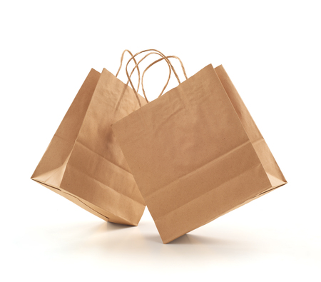 shopping bag kraft brown paper on white background Banque d'images