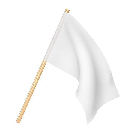 White flag isolated in a white.  3d illustration
