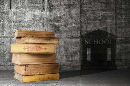 The concept of education. A pile of old books casts a shadow in the form of an educational institution. Stock Photo