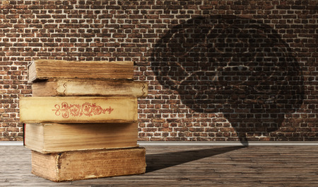 The concept of education. A pile of old books casts a shadow in the form of a brain on brick wall background.
