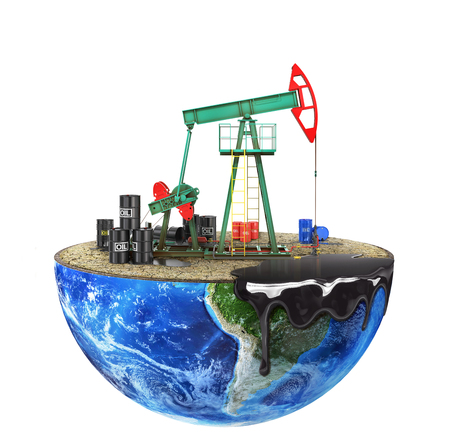 Eco-concept. Oil pump on a cut planet isolated on a white background. The concept of natural resource extraction.