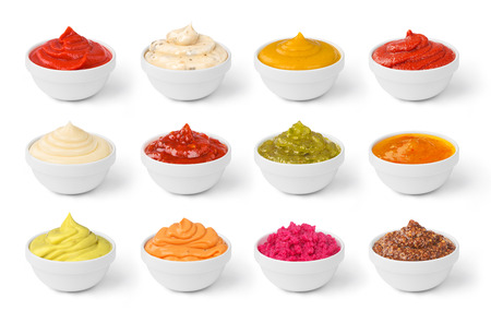 set of sauces in jar isolated