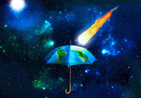 Concept of protection. Umbrella covered with texture of planet with meteorite on a space background