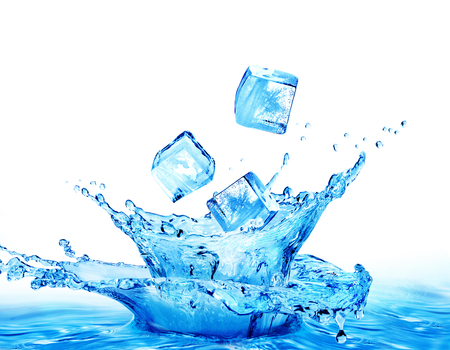 Ice cubes falling into the water isolated on a white background