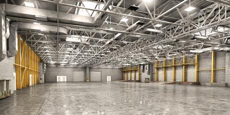 Empty warehouse. 3d illustration Stock Photo