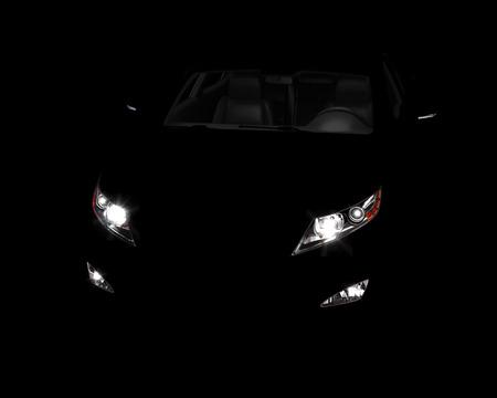 Car lights. isolated on black background. 3d illustration